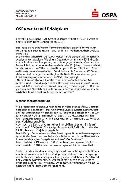OSPA weiter auf Erfolgskurs  - OstseeSparkasse Rostock