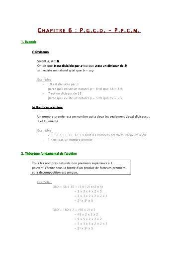Cours - Alg. Chapitre 6