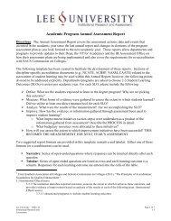 Academic Assessment Report Template - Lee University