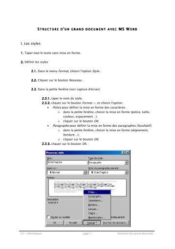 Cours - Structure d'un grand document dans MS Word