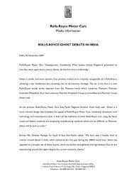 Rolls-Royce Motor Cars Media Information - The Automotive India