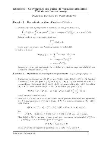 Sujet : Analyse, Suites numériques, Convergence d'une ...