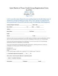 Saint Martin of Tours Youth Group Registration Form (L.I.F.E.) 2011 ...