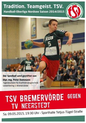 TSV BREMERVÖRDE gegen TV Neerstedt am Samstag 09.05.2015 um 19:30 Uhr