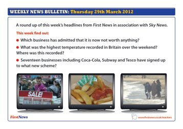 WEEKLY NEWS BULLETIN: Thursday 29th March 2012 - First News