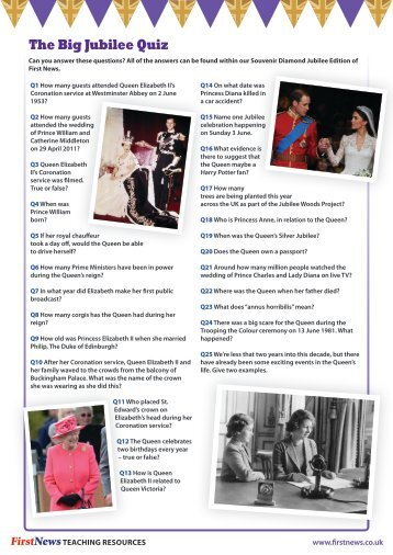 The Big Jubilee Quiz - Answers - First News