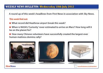 WEEKLY NEWS BULLETIN: Wednesday 18th July 2012 - First News