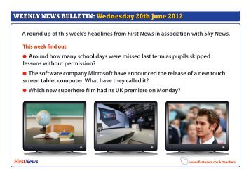 WEEKLY NEWS BULLETIN: Wednesday 20th June 2012 - First News