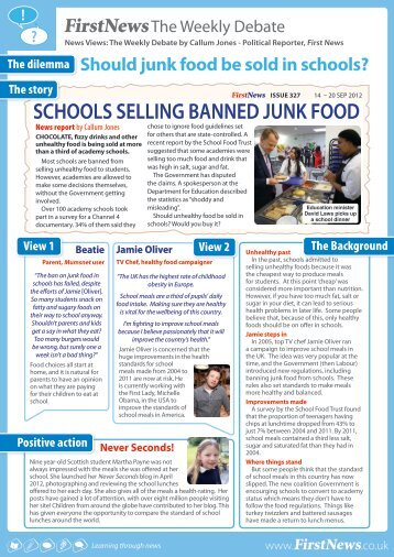 should junk food be banned from schools debate