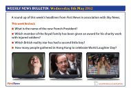 WEEKLY NEWS BULLETIN: Wednesday 8th May 2012 - First News