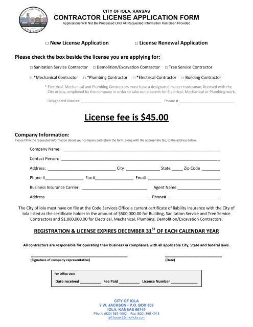 Contractor License Application City Of Iola