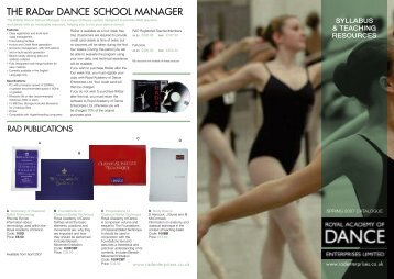 THE RADar DANCE SCHOOL MANAGER - Royal Academy of ...
