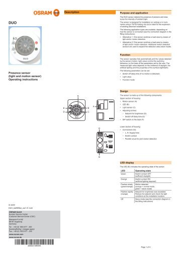 operating instructions osram outdoor sensor