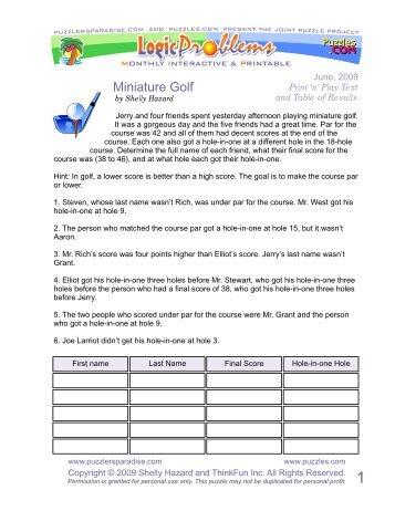 Miniature Golf Logic - Puzzlers Paradise