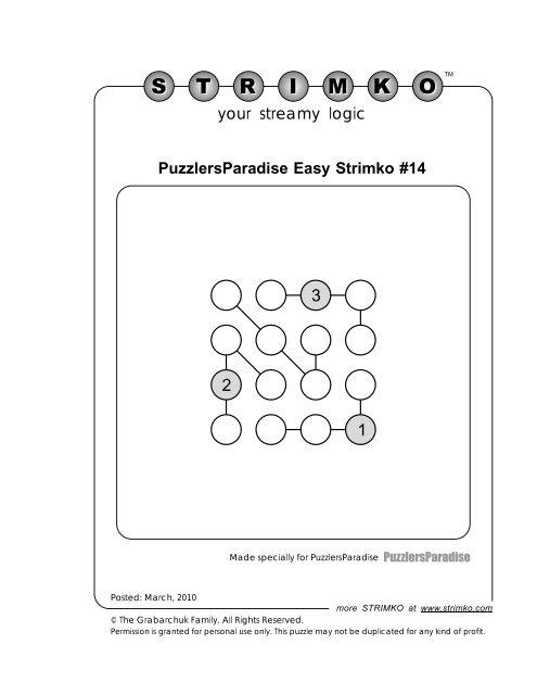 PuzzlersParadise Easy Strimko #14 your streamy logic