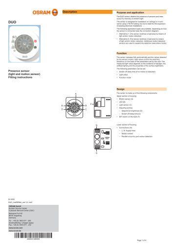motion sensor light control instructions
