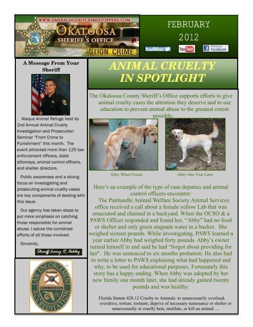animal cruelty in spotlight february 2012 - Okaloosa County Sheriff's ...
