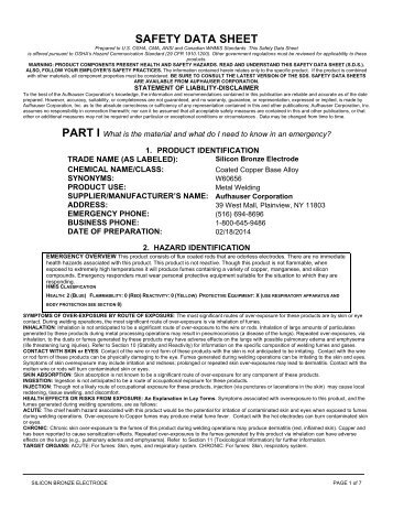 MATERIAL SAFETY DATA SHEET - Aufhauser Corporation