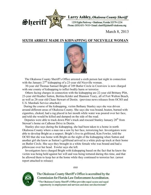 Mar. 8 - Sixth Person Arrested in Kidnapping Case - Okaloosa ...
