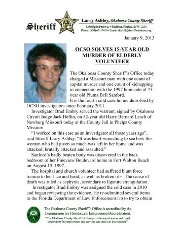Jan. 9 - Arrest Made in 1997 Murder - Okaloosa County Sheriff's Office