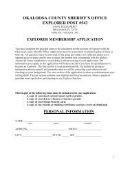OKALOOSA COUNTY SHERIFF'S OFFICE EXPLORER POST #543