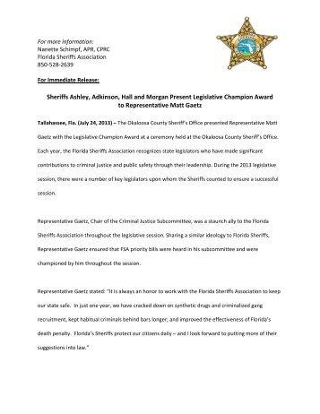 Gaetz Earns Florida Sheriff's Association Legislative Champion Award