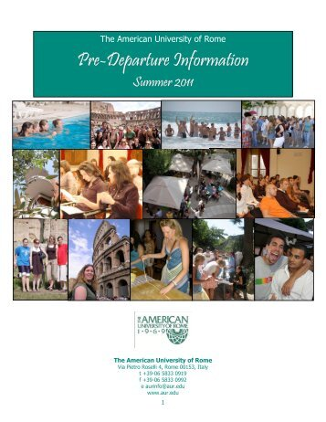 pre-departure-info-summer-I-2011 - The American University of Rome