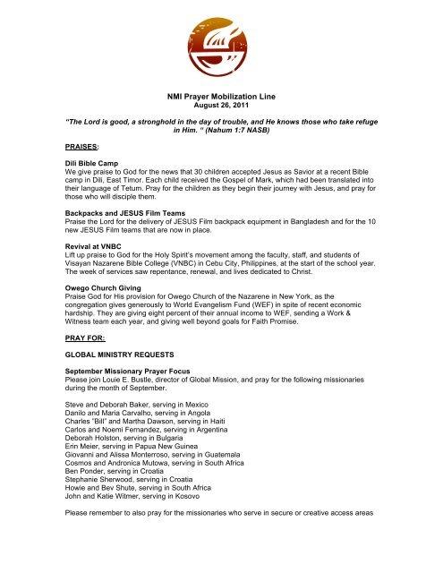 Printable PML - Nazarene Missions International - Church of the