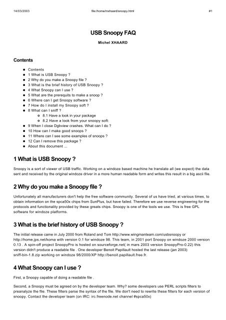 USB Snoopy FAQ 1 What is USB Snoopy ? 2 Why do you ... - Free
