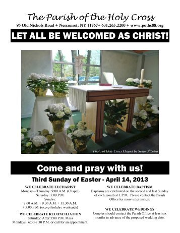 Apr 14, 2013 – Third Sunday of Easter - Parish of the Holy Cross