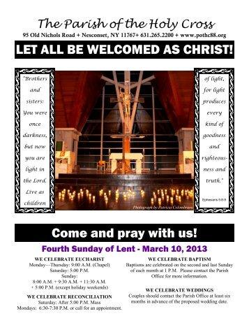 Mar 10, 2013 – Fourth Sunday of Lent - Parish of the Holy Cross