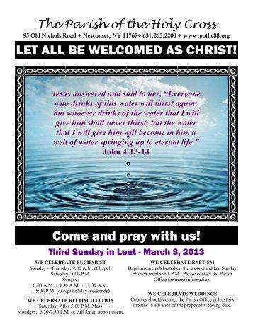 Mar 3, 2013 – Third Sunday of Lent - Parish of the Holy Cross