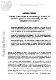 FAMMA participa en el cortometraje Ironías de la Vida que será ...