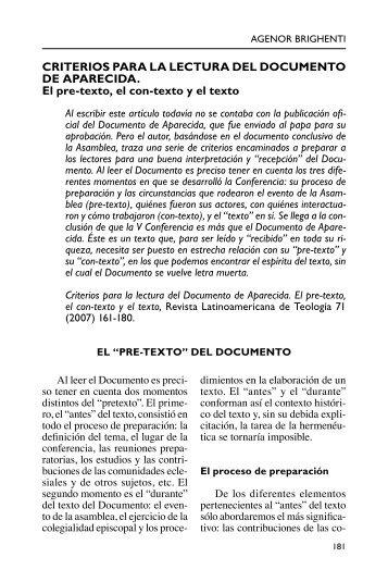 Criterios para la lectura del Documento de Aparecida ... - Selecciones