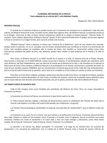 Cuaresma - Centro Nacional de Catequesis
