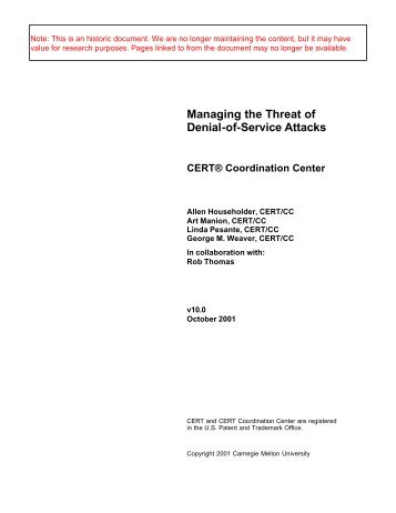 Managing the Threat of Denial-of-Service Attacks -  CERT ...