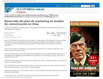 Desarrollo del plan de marketing en medios de comunicación en línea
