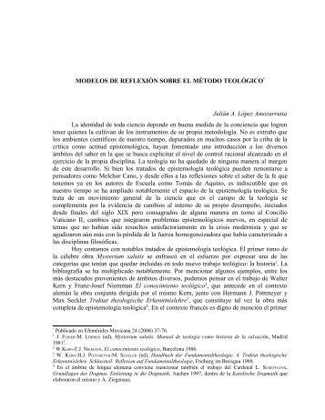 modelos de reflexión sobre el método teológico - amoz.com.mx
