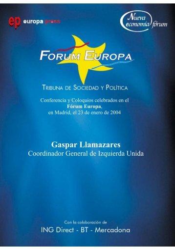 Gaspar Llamazares - Nueva Economía Fórum