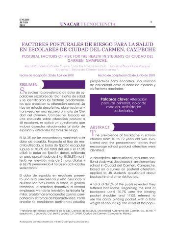 Factores Posturales de Riesgos para la Salud en Escolares de ...