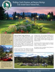 Weddings, Family Reunions, and Business ... - Glacier Park Inc.