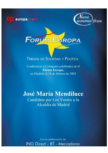 José María Mendiluce - Nueva Economía Fórum