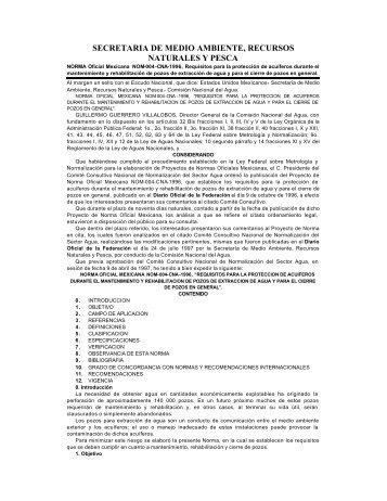 nom-004-conagua-1996 - Comisión Nacional del Agua