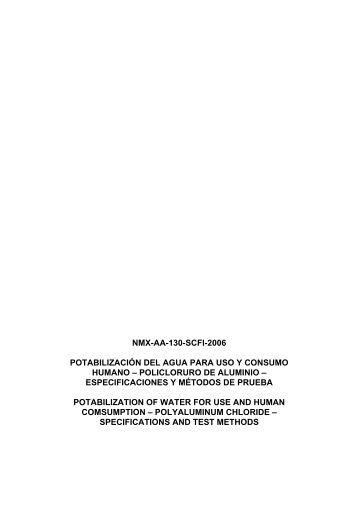 NMX-AA-130-SCFI-2006 - Instituto Mexicano de Tecnología del Agua