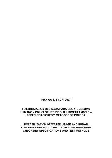NMX-AA-136-SCFI-2007 POTABILIZACIÓN DEL AGUA ... - CONAGUA