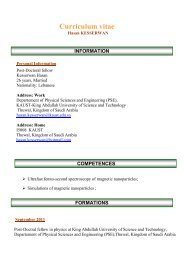 Curriculum vitae - King Abdullah University of Science and ...