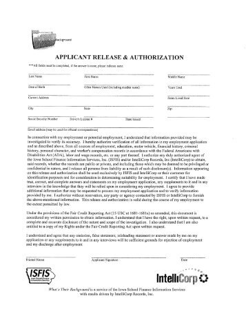 Background Check Authorization Form  CarolinaclubsOrg