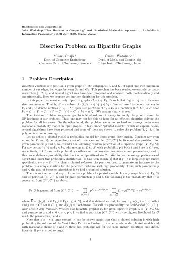 Bisection Problem on Bipartite Graphs