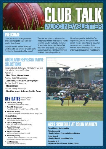 February - Auckland University Cricket Club