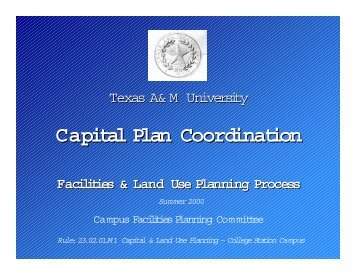 Capital Plan Coordination - Facilities and Land Use Planning Process